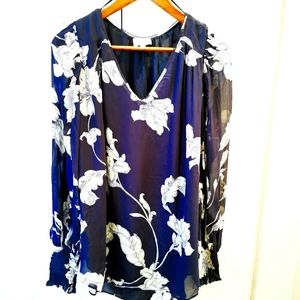 Witchery Blouse Sheer Sleeve V Neck size 14 Floral Print Navy Cream stunning